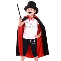 Fun little Halloween Costume clothes children | double black cloak adults + magic cap + beard