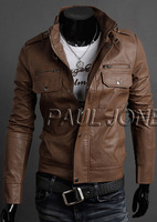 New Men's Polyurethane Leather Jacket Occident Catwalks Shall Slim Fit Special Hoodie Jacket Coat Men Outwear CL6983