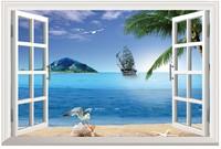 New Beach Seaview Landscape Simulation Fake Window Sticker 120*80cm Sofa Background Art Mural Home Decor Wall Sticker hj-36