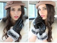 Leather gloves female autumn and winter rabbit fur women's gloves plus velvet thickening thermal driving gloves female short
