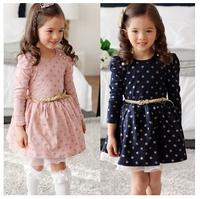 2014 new Spring autumn children's clothing wholesale kids Cotton dress girls Cute Sashes  long sleeve dot  princess dress