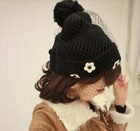 Free shipping 1pcs Small white chrysanthemum black knitted cap Bridal veil hat wholesale