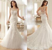 New Arrival Elegant Tulle Mermaid Wedding Dresses 2015 Custom Made Long Formal Applique Bridal Gowns vestido de noiva