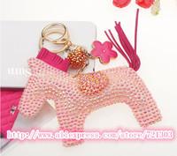 New fashion Finished handmade stickers rhinestones horse pendant bag rhinestones key chain keychain free shipping