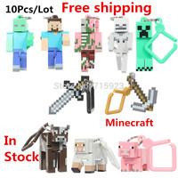 10pcs/SET Hot sale Minecraft  Key chain & backpack pendants Legohome toys model 3D models OF Classic toys FREE Shipping