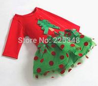 Christmas& Autumn Baby Girls Long Sleeve Polka Dot One-piece Shirt Dress Clothes