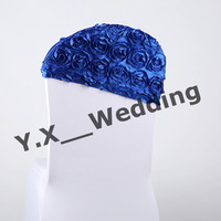 Royal Blue Color Satin Rosette Chair Cap For Wedding Chair Cover \Spandex Chair Cover