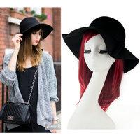 Real Photos 2014 Autumn New Women Plain Simple Black Wool Blend Felt Fedora Hat Free Shipping