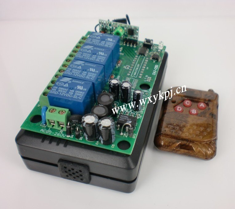 Best Price 85V~220V 10A 4CH Channel RF Wireless Remote Control System Receiver & Transmitter 315-433MHZ(China (Mainland))