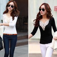 Fashion Women V-neck Long Sleeve Lace Neck T-shirts Skinny Casual Basic Tee