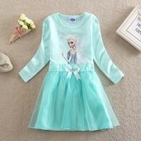 Baby girl frozen dresses cartoon autumn long sleeves dress 2014 frozen girl's dress mesh hem costume kids frozen princess