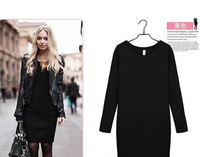 2014 new autumn and winter bottoming large size thin velvet long-sleeved dress 1298