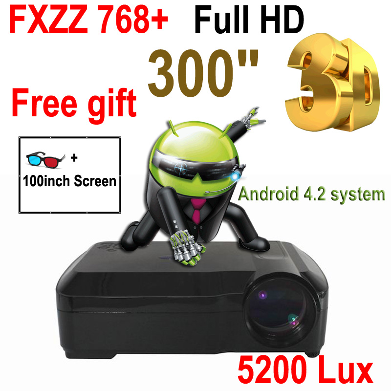 """FreeGift 100"""" Screen 5200Lux 300"""" Full HD Business Android WiFi Smart Digital Advertising Education 3D Projector Free Shipping(China (Mainland))"""