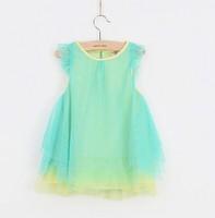 5pieces/lot, Summer little Girl sleeveless Gauze Dresses, Kids Dress,  Green, A-SL089