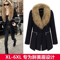 2014 Fashion woolen medium-long fur collar winter coat outerwear women plus size