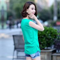 2014 Korean version of women's summer chiffon blouse hot drilling large yard turtle neck shirt Slim