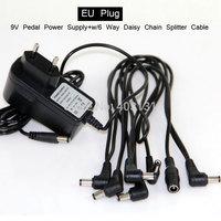 Free Shipping 6 Plug Angled Head Multi Power Cable + 9V Guitar Effect Pedal Power Supply Adapter EU Plug