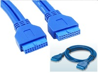 1pcs/ USB 3.0 Motherboard 20pin Female connector to 20pin Female plug 50cm extension cable New