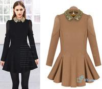 Evening Vestidos 2014 Ruffle Brief Graceful Turn-down collar Gentle European Black Khaki Slim Autumn Spring Cotton Women Dress