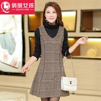 2014 Autumn temperament Slim put on a large high-end Korean version was thin waist woolen sleeveless dress sub dressesdxz