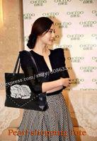 2015 Star Lover Black Calfskin Leather Pearl Shopping Tote Bag With Rivet Design Shoulder Bag Large Size 40CM