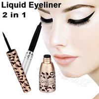 Fashion Leopard Waterproof Liquid liner + Eyeliner Pen 2 in 1 Double use Eye Makeup set 8ml Black Cosmetic