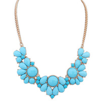 Best Price New Hot Fashion Resin Blue Water Drop Beads Collar Choker Statement Necklace Jewelry for Women Free Shipping#110305