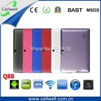 50pcs q88 7 inch touch screen allwinner A23 Dual Core 1.2ghz tablet pc ram 512mb rom 4gb cheapest