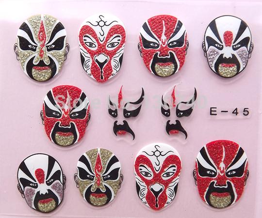 E-45 facial makeup nail decorations chinese nail art gift from china nail stickers Beijing Opera Facial Masks nail decals(China (Mainland))