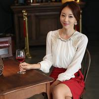 2014 New Autumn Women's Lace Blouse Patchwork Shirts Chiffon Blouse Blusas Femininas Cheap Clothes China Style Chiffon Shirt Top