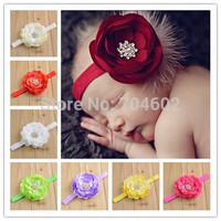 New 8pcs/lot Ballerina flowers with rhinestone on 1.5cm Shimmer Elastic Stretch Headbands Baby Girls Flower Headbands FDA43