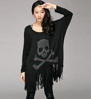 Free shipping 2014 long sleeve t shirt women rhinestones skull shirt loose black tassel top batwing plus size