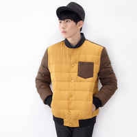 Tonlion 2014 men's coat down clothing color block baseball decoration casual thermal down coat outerwear