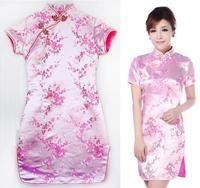 2015 New cheongsam Qipao flower women sexy mini dress Chinese New Year party slim evening dresses chi-pao clothing