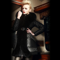 2014 bl for ess edly fur luxury patchwork pocket slim down coat female