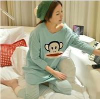 2014 Autumn Winter Women's Cotton Sleepwear Female Cartoon Monkey Lounge Woman Pink Purple Red Homewear Pajamas Set
