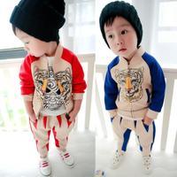 Free Shipping 2014 Hitz Korean boy boys cartoon tiger suit jacket pants two-piece baby