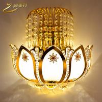 2014 special gold lotus crystal restaurant wall lamp balcony porch lamp living room wall lamp aisle lamp