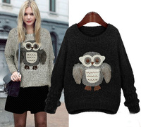 Free shipping woman sweater winter autumn 2014 fashion owl pattern pullover women knitwear european style high quality