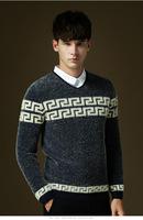 Free shipping Plush christmas sweater men fashion V-neck geometric pattern Mens Sweaters wholesale winter pullover men