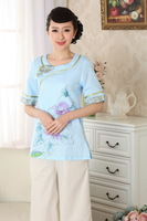 chinese jacket Cotton  printing Asian short sleeve Top blouse size 30-38 clothes 140905