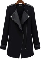 2014 New Winter/Fall High Quality Fashion Women Casual Black Contrast PU Leather Trims Oblique Zipper Coat, Free Shipping!DF-204
