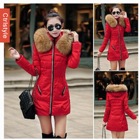 Ctrlstyle 2014 New Raccoon Fur Hooded Thicken Warm Long Parka Women Winter Coat+Free Shipping Wholesale/Retail