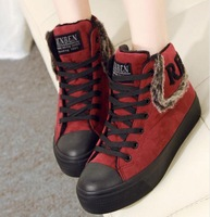 Free shipping  35-39 Casual canvas cotton-padded shoes  high-top platform female elevator platform shoes female snow shoes