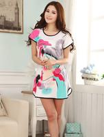 Wholesale summer short-sleeved nightgown pajamas cute cartoon lady Siamese pure silk nightgown pajamas soft tracksuit