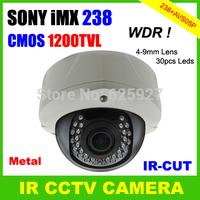 Strong Metal Cover Sony IMX238 CMOS 1200TVL Super WDR OSD Menu 4-9mm Lens Vandalproof CCTV Dome IR Camera