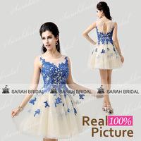AJ034Royal Blue color short evening dresses 2014 vestido de festa curto com transparencia dress short party elegant