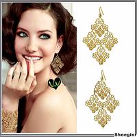 Fashion accessories gold plated Tassel leaf drop earrings cutout bohemia elegant Women earrings jewelry Factory Wholesale