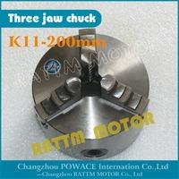 Manual chuck Three 3 jaw self-centering chuck K11-200mm 3 jaw chuck  Machine tool Lathe chuck