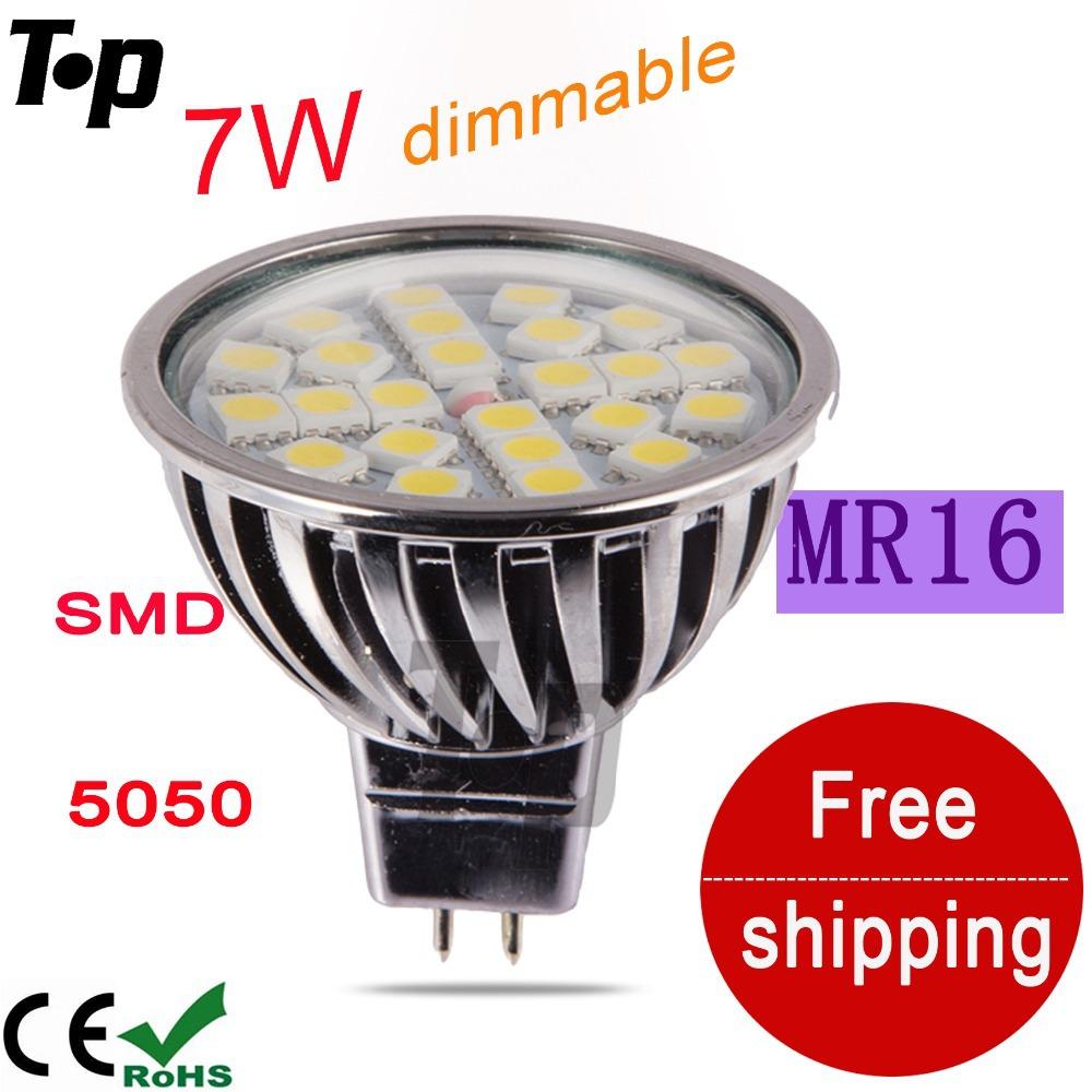 New free shipping dimmable LED Spotlight alamium led lamp 7W MR16 12V SMD 5050 light brightness bulb lighting white warm white(China (Mainland))